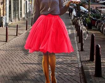 Red tulle skirt. Tulle skirt. Tea length tulle skirt. Woman tulle skirt. Tutu skirt women. Red tutu skirt. Bridemades tutu skirt
