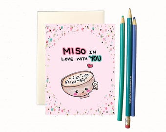 Love card, Funny love card, cute love card for boyfriend, anniversary card, funny anniversary card for husband, miso card, foodie pun card