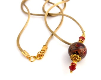 Red and Gold Pendant Necklace, Lampwork Necklace, Glass Bead Necklace, Gifts for Her, Holiday Jewelry