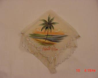 Vintage Puerto Rico Hand Painted Handkerchief  17 - 1333