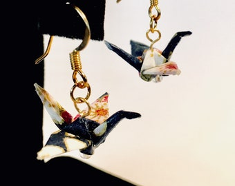 Origami Crane Earrings Dark Blue with pink and white Flowers 1""
