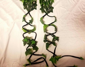Poison ivy - eve - fairy - elf green leaves arm wraps pair of 2!