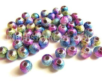 100 purple metallic stardust with colorful acrylic Ø 6 mm beads