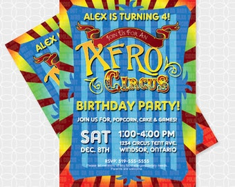 Circus Party Invitation, Printable file, Personalized, Afro Circus