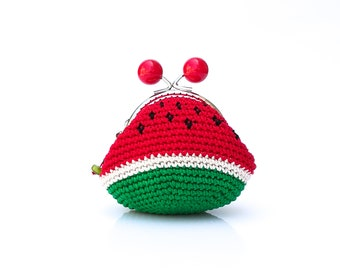 Coin purse crochet, hand knitted mini bag  with watermelon design and metal frame, summer fruits, kiss lock coin purse, handmade cute gift