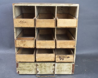Primitive Cabinet / Handmade Wood Small Parts Rustic Cabinet
