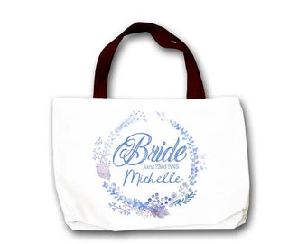 Bride Bag - Personalized for the Bride - Floral Bridal Shower Tote Bag - Persoanlzied Canvas Tote Bag - Custom Tote Bag - Wedding Tote Bag