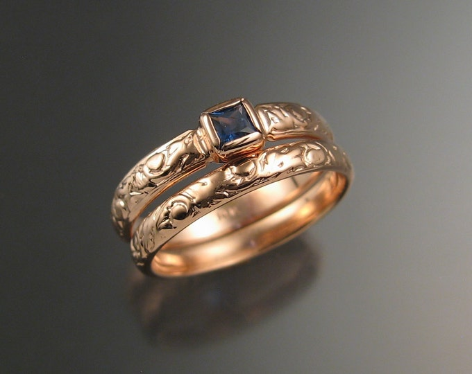 Sapphire Square cut Cornflower blue Wedding set 14k Rose Gold Victorian bezel set  ring made to order in your size