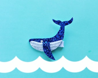 Whale Hair Clip Summer Nautical , glitter hairbow, giddyupandgrow