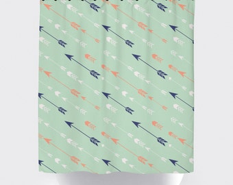 Mint arrow fabric shower curtain, high quality shower curtain, shower curtain, arrow, bathroom decor, home decor, mint