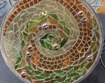 "12"" Stained Glass Mosaic Plate--Amber Waves Design"