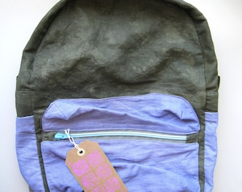 Dyed Olive Lavender Linen Backpack with Blue Contrast Zipper