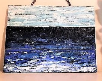 Rustic Hand Painted Beach Scene: Original Wall Art