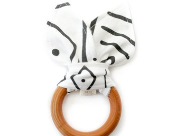 wooden teething ring, baby teether, gender neutral teether, wooden teether, baby teething toy, back and white teething