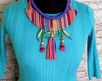 Textile necklace, ethnic jewelry set, Statement necklace