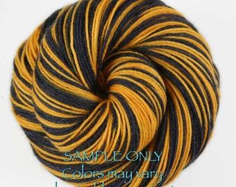 "Dyed to Order: Self striping sock yarn - ""BLACK - GOLD"" - Football yarn - Baseball Basketball - School colors - Pittsburgh, Boston"