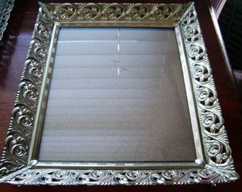 Vintage picture frame easel back with glass wedding table decor home decor picture frame regency frame 8x10 inch
