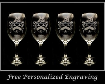Walsh Irish Coat of Arms Clear Wine Glass 18oz Set of 4 - Free Personalized Engraving, Large Wine Glass, Celtic Decor, Irish Wedding