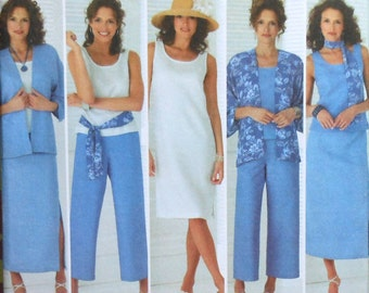 Summer Wardrobe Sewing Pattern UNCUT Simplicity 4552 Sizes 10-18 skirt pants dress top jacket