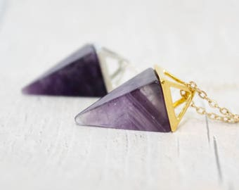 Amethyst Pendant, Amethyst Geometric Necklace, Amethyst Necklace, Gift for Her, Amethyst Jewelry, Boho Necklace, Birthday Gift, Ladies Gift