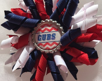 Chicago Cubs Large Single Korker with Bottlecap, Girls, Hair Bow, Toddlers, Baby, Team Apparel, Blue, Red, White, Baseball, Photo Prop,