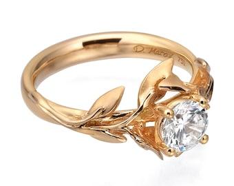 Leaves Engagement Ring, 18K Rose Gold and Diamond engagement ring, Unique engagement ring, leaf ring, Alternative Engagement Ring