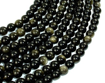 Golden Obsidian Beads, Round, 6mm, 15.5 Inch, Full strand, Approx 63 beads, Hole 1 mm, A quality (239054001)