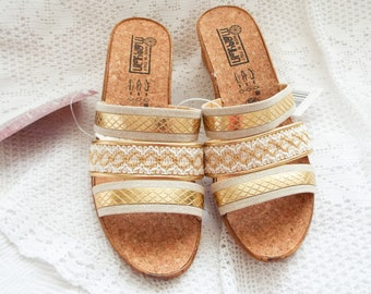"Unworn Italian mules White and gold sandals Slip on mules Low heel slip on sandals Cork mules White and gold mules from France  2"" heel UK 6"