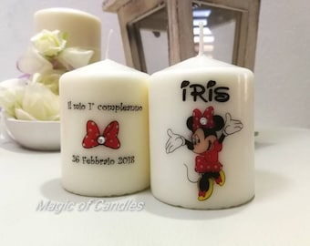 Candles custom Wedding Favors for first birthday, with Minnie Mouse.