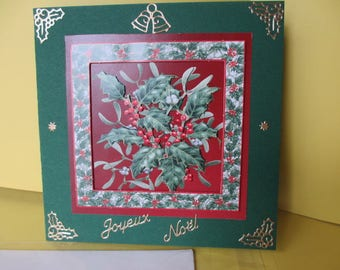 Map stickers and 3D (relief) Holly gold Merry Christmas