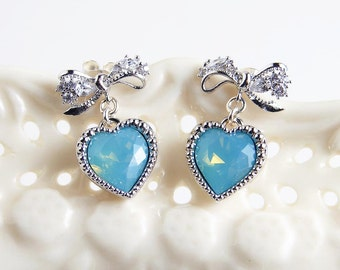 Swarovski Pacific Opal Blue Heart Bow Earrings. Pacific Opal Heart Crystal. Bridesmaid Gift. Mother's Day Gift. Simple Modern Jewelry