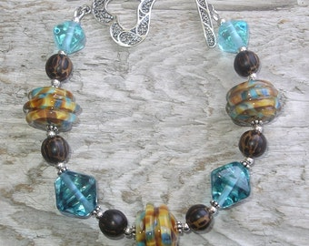 Handmade Lampwork Glass Bead Bracelet and Palm Wood - Sweet Southwest