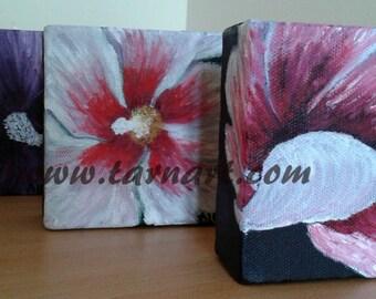 Hibiscus flowers, desktop accessories, small art, gift ideas, small paintings, 3d flower art, original artwork, colorful paintings, fine art