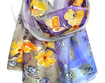 Hand Painted Silk Scarf. Floral Scarf. Silk Shawl. Gift for Her. Purple Scarf. Silk Painting. Unique Handmade Shawl. 18x71in MADE2ORDER