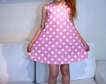 Trapeze dress black polka dot 4-6 years pattern only