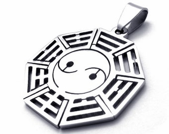 Men's Silver Yin Yang Taiji Diagram Bagua Stainless Steel Pendant Bead Necklace Chain universe Diagram Pendant with Chain