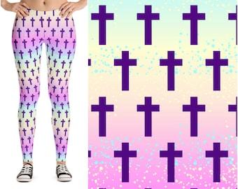 Pastel Rainbow Cross Leggings, Pastel Goth Leggings, Christian Clothing for Women, Harajuku Kawaii Leggings, Soft Grunge Clothes, Cute