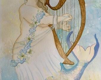 Music to my Ears: Original Mermaid Watercolor Art, Chubby Mermaid Painting