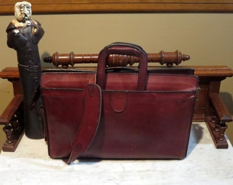Etsy BDay Sale Vintage Hartmann Burgundy Belting Leather Handle Portfolio Attache Briefcase With Detachable Strap- Rare Bag