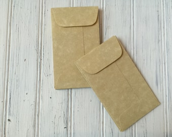 100 Aged Coin Envelopes, Parchment Envelope, Business Card Envelopes, Wedding Staionery, Seed Envelopes, Mini Aged Envelopes with Flap