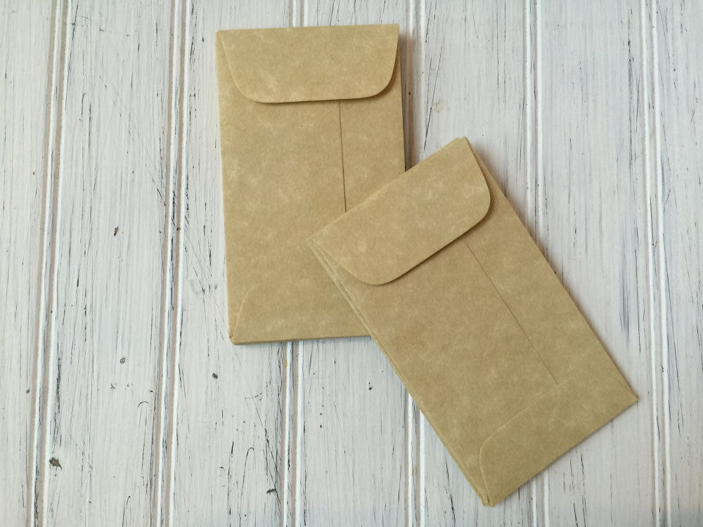 25 Aged Coin Envelopes Parchment Envelope Business Card