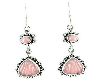 Pink Peruvian Opal Sterling Earrings Carved Shell Small