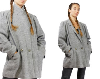 GREY WOOL COAT / Vintage Wool Coat / Wool Coat / Coat Grey  / Wool Jacket / Long Wool Coat / Wool Blazer / Long Coat Grey