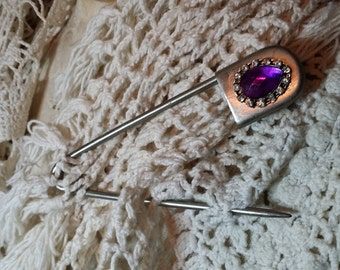 Gift topper. Purple. Safety pin. Vintage. 5 inch.  laundry pin. Large safety pin. Baby shower. Bride