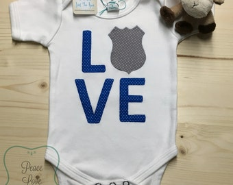 Police Love Baby Bodysuit, Baby Shower Gift, New Baby Gift, Going Home Outfit, Police Baby, Sheriff, Deputy, State Trooper, Love Police