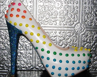 candy dot heels/ candy heels/ candy shoes with glitter/polka dot heels/ rainbow candy heels/ custom heels/ glittered heels/ tea party heels