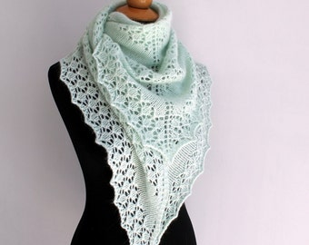 Hand knit triangle lace shawl in pastel green angora