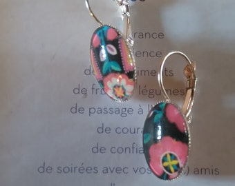 Earrings color pink 'flower' gold