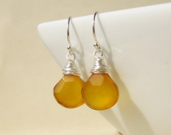Honey Yellow Chalcedony Earrings wire wrapped in sterling silver