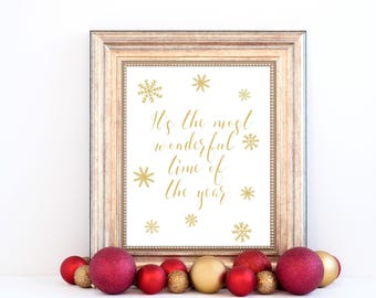 Minimalist Holiday Decor   Gold Printable Christmas Quote Wall Art   Winter  Poster  Xmas Snowflakes